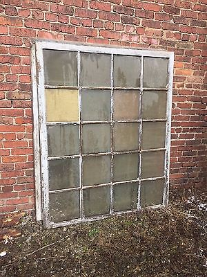 vtg industrial wood large windows wavy glass architectural salvage 1800s 5' x 6