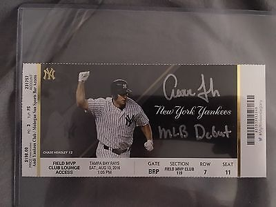 Aaron Judge Autographed MLB Debut Ticket With MLB Debut Inscription