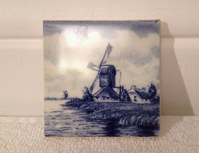 Miniature Delft-Style Tile; Holland-Dyke Farmhouse-Mill Windmill 1 7/8-IN sq