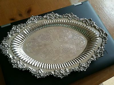 Ornate Sheffield Silver Plate Serving Dish Bowl Tray