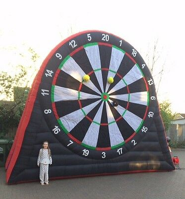 HIRE INFLATABLE 16ft FOOTBALL GOLF DARTS DARTBOARD BOUNCY CASTLE PARTY WEDDING