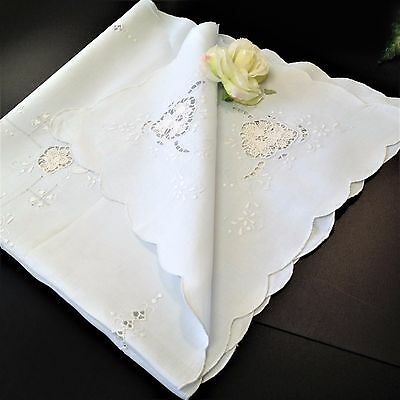Palest of Blue Linen - 82 x 82 Square Table Cloth Topper - Cutwork Embroidery