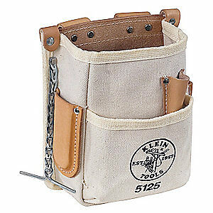 KLEIN TOOLS Tool Pouch,5 Pkt,7-1/2 x 8-1/2 In,Canvas, 5125, Natural
