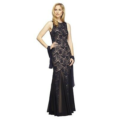 mother of the bride dress - floor length, Navy dress. Never altered in any way.