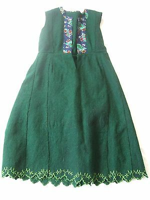 Green heavy wool Bulgarian soukman folk dress VTG