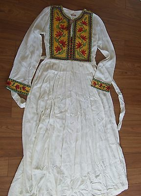Hindu Kush VTG hand embroidered white gown boho peasant hippie