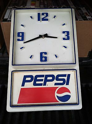 Vtg. Pepsi Clock Plastic For Parts Or Repair Battery Operated Original