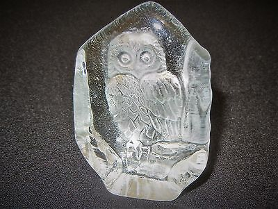 Glass Paperweight Owl Etched