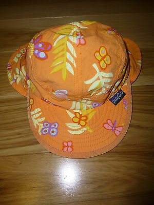 Patagonia Baby Girl Boy Orange Sun Protection Hat with Neck Flap - 0-3 Months