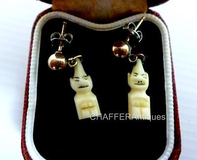 INUIT Billiken Hand Carved  Charm and GOLD Earrings 1950s