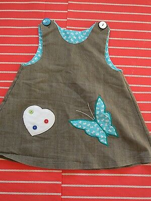 Gorgeous Handmade baby girl dress appliqué butterfly and love heart size 0, 6-12