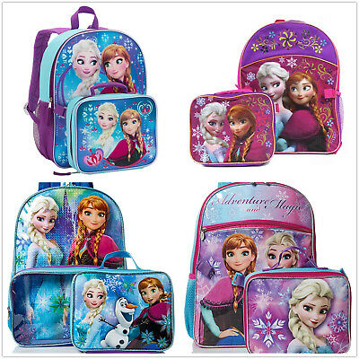 Frozen Elsa Girls Pink School Backpack Lunch box Set Large Cartoon Book Bag Kids