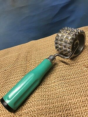 Vintage Rolling Meat Tenderizer w/Turquoise Handle Made In Germany