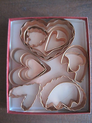Martha by Mail Copper Cookie Cutters---Hearts--NIB