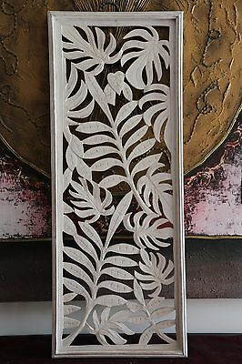 NEW Balinese Hand Carved White Washed Wood Panel - Shabby Chic Wooden Wall Art