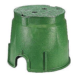 NDS Valve Box,Round,10-1/2in.Hx13in.W, 212BC, Black/Green