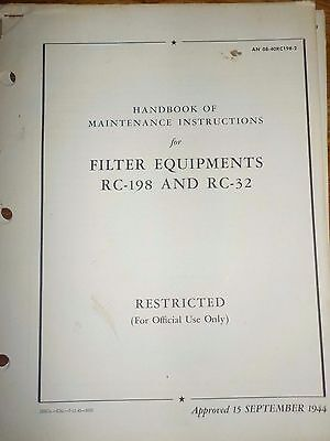 Handbook Maintenance Instructions Filter Equipments RC-198 RC-32 Army Air Corps