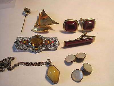 Antique Jewelry ..lot Of 6..pins, Stick Pins,. Necklace .gold Filled, Cufflinks