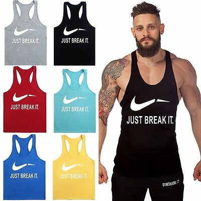 Men Gym Sleeveless Shirt Tank Top Muscle Sport Bodybuilding Fitness Vest T-Shirt