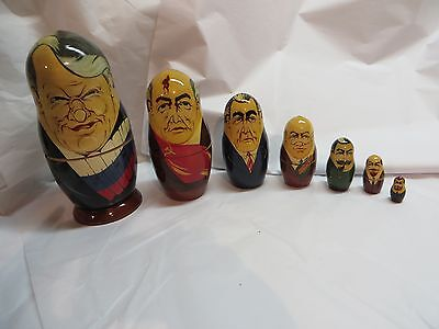 7 Pc. Vintage 90's Soviet Leaders Presidents Wood Russian Nesting Dolls Handmade