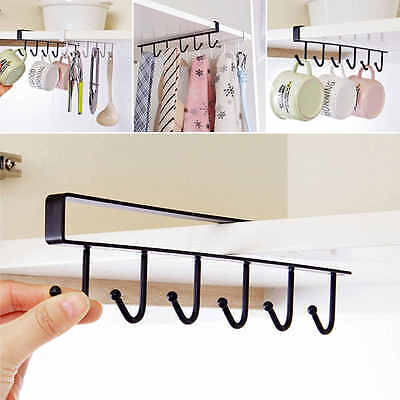 6 Hooks Cup Holder Hang Kitchen Cabinet Under Shelf Storage Rack Organizer Hook