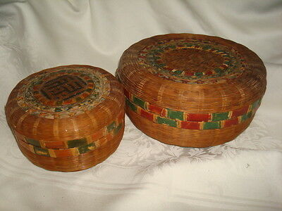 2 Antique Baskets.Oriental Chinese Tea Basket Bamboo Decorative Early 1900's