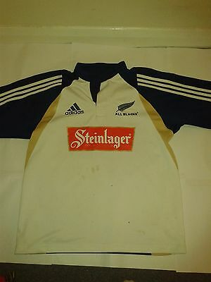 New Zealand All Blacks Steinlager white adidas rugby shirt size M