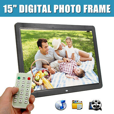 "15"" 1080p HD LCD Digital Photo Frame Picture MP4 Movie Player Remote Control"