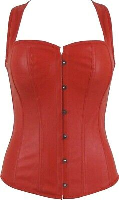 Steampunk Racer Back Straps Red Corset Top Gothic Costume Soft Faux Leather