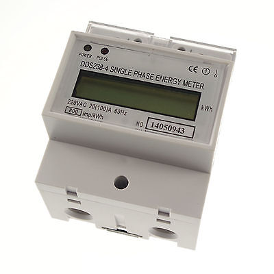 230V 60hz 20A to 100A Single Phase DIN-rail Type Kilowatt Hour kwh Meter