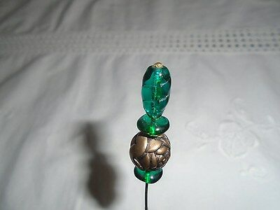 Antique Estate Victorian Metal Rose And Green Art Glass Hat Pin.