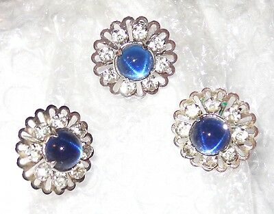 ViNTaGe MOONSTONE BluE GLASS SIGNED EARRINGS PIN CRYSTAL RHINESTONE SET SILVER P