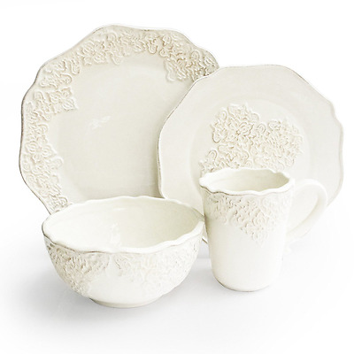 American Atelier 16-Piece Bianca Medallion Dinnerware Set, White