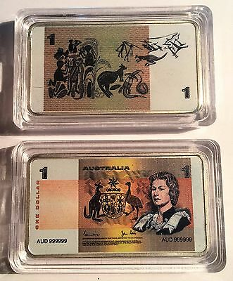 New $1.00 Australian Old Note 1 oz Ingot 999 Silver Plated/Colour Printed