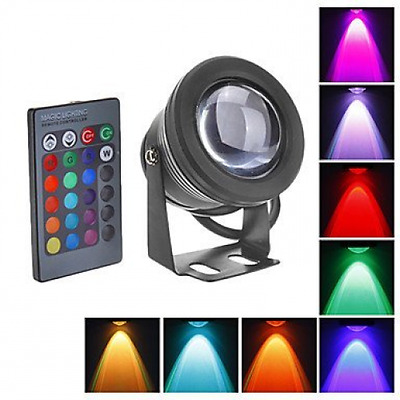 RC 10W Waterproof LED Flood Light,12V AC/DC,Outdoor Security RGB Color Changing