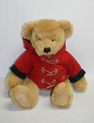 "Harrods 2003 Christmas Bear  Plush 13"" Red Jacket Holiday Foot Dated Harrod's"