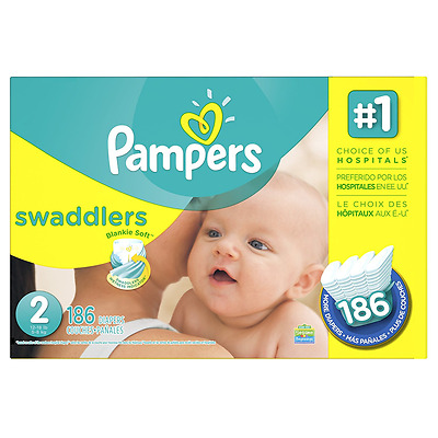 Pampers Swaddlers Diapers Size-2 Economy Pack Plus, 186-Count- Packaging May Var