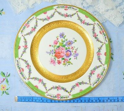 Crescent China Antique (1891~1920) Encrusted Gold Floral Plate 10""