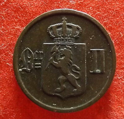 1893 Norway 2 Ore - Nicely Detailed  Bronze Coin KM# 353  (#215)