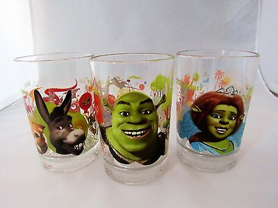 Set of 3 Shrek  McDonalds Drink Glasses with Shrek Fiona and Donkey 2007