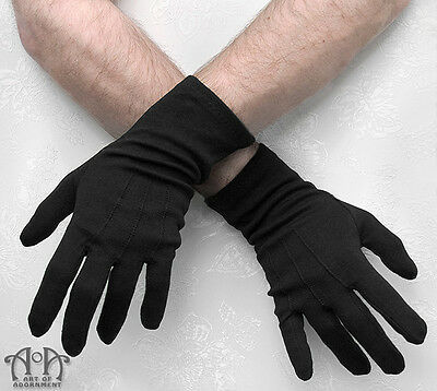 Gothic Formal Black MENS EVENING GLOVES Wedding Costume Long Wrist Military G07