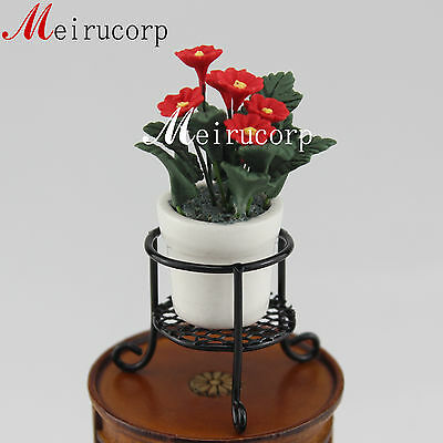 Dollhouse 1:12 Scale Miniature Shiny Red Flower With White Flowerpot