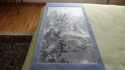 Vintage Chinese Scroll On The Silk Landscaping With People On Boats