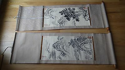 Pair Vintage Chinese Scrolls On The Silk Landscaping