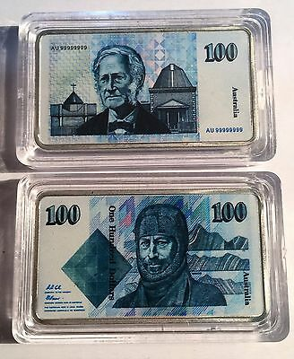 New $100.00 Australian Old Note 1 oz Ingot 999 Silver Plated/Colour Printed