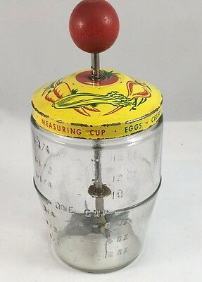 Vintage Nut or Veggie Chopper, Glass Measuring Cup County Kitchen Yellow & Red