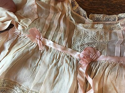 Antique / Vintage Edwardian Pink Lace Baby Dress Set