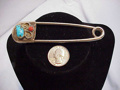 Large Sterling Native American Safety Pin Turquoise and Coral
