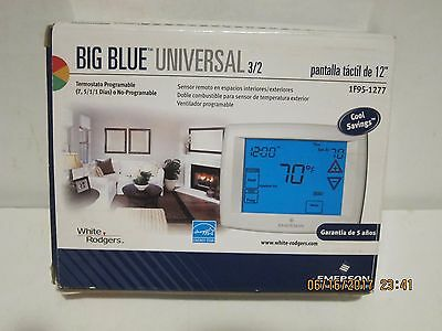 """WHITE-RODGERS-Emerson 1F95-1277 Big BLUE 12"""" Touchscreen Programmable T-STAT NSB"""