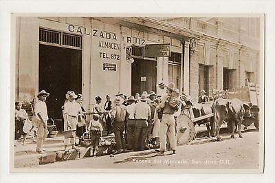 San Jose Costa Rica Escena Del Mercado 1942 Real Photo Postcard